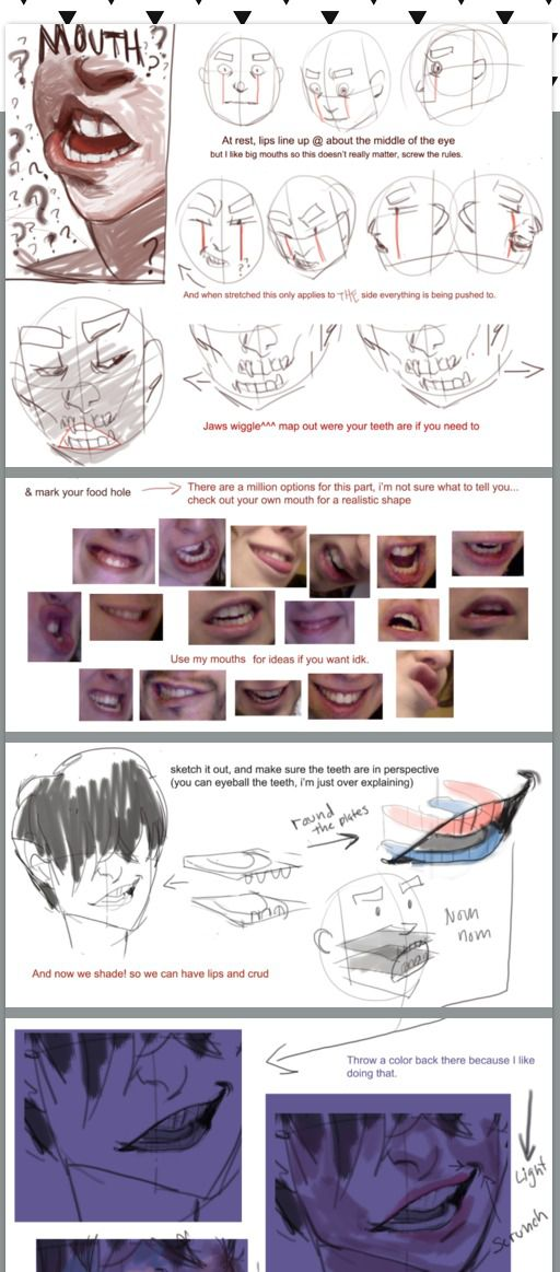 polararts.tumblr.com Mouths tutorial, click to see whole thing. ?    CHARACTER DESIGN REFERENCES   ? (faces to draw thoughts)