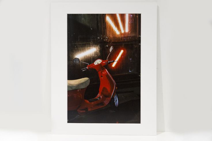 """Wet Red Bike Fine Art print with professional picture framing mat board 11x14"""" with 8x12"""" print size and comes packaged in a clear cello poly resealable bag. Ready to be framed if you require.  Selling for $28AUD each + $12.80AUD delivery within Australia. International buyers please Contact me for an accurate delivery cost."""