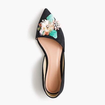 Collection Sloan jeweled suede d'Orsay flats