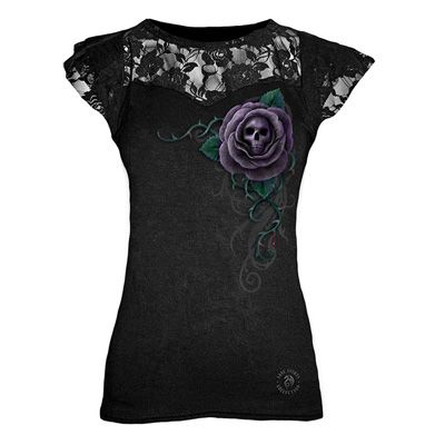 Poison Rose, gothic fantasy metal roos schedel kanten top zwart