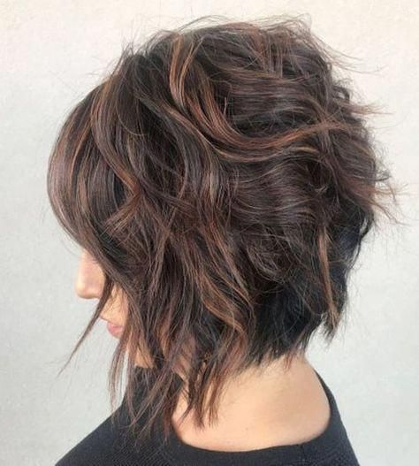 52-short-curly-layered-haircuts-with-bangs Best Short Layered Bob With Bangs #cu…