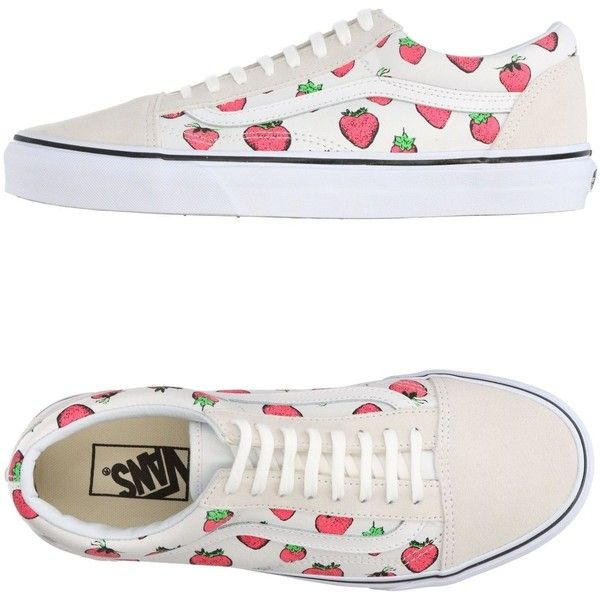 Vans Sneakers ($69) ❤ liked on Polyvore featuring shoes, sneakers, white, vans sneakers, floral shoes, leather trainers, floral-print shoes and floral sneakers