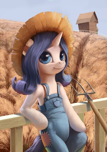 #1086133 - artist:maggwai, barn, bipedal, bipedal leaning, dead source, farmer, fence, field, hat, overalls, pitchfork, pony, rarihick, rarity, safe, scenery, simple ways, solo, straw hat - Derpibooru - My Little Pony: Friendship is Magic Imageboard