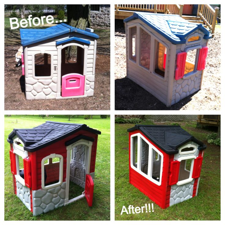 Extreme Makeover: Playhouse Edition!!! We had this playhouse given to us for free and decided to spruce it up a bit :) All it took was some scrubbing with soapy water and a few cans of Krylon plastic spray paint. Just tape off each colored section as you go. It was that easy and looks so cute in our backyard!