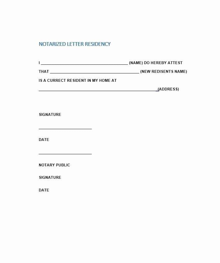 Printable Notarized Letter Of Residency Template