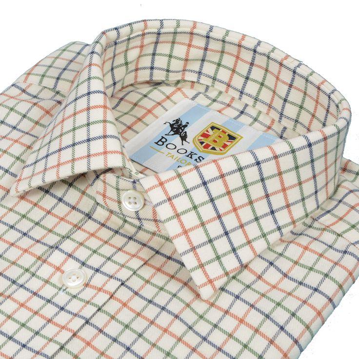 Bookster Tattersall Shirt - Green Navy Brick - Bookster Tailoring