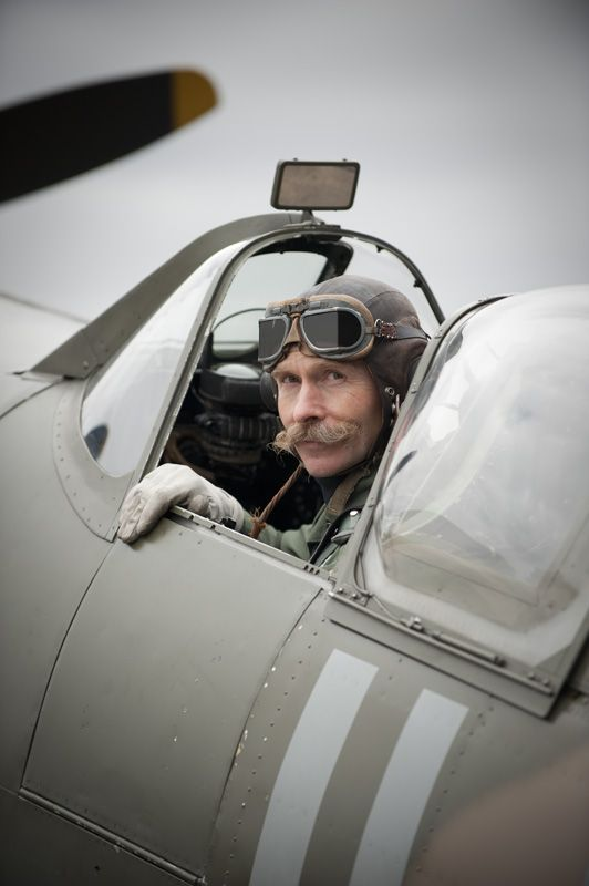Charlie Brown in a Spitfire Photo courtesy of the Historic Aircraft Collection Ltd.