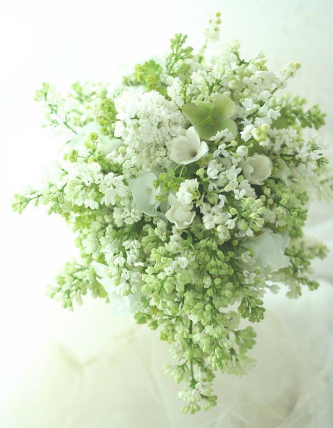 ブーケ ティアドロップ ジャスミンとライラックとスズランのブーケの画像:一会 ウエディングの花