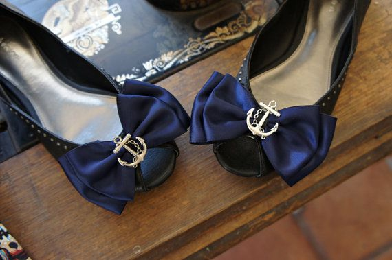 Olivia Paige - Sailor Navy satin Anchor  bows  pin up Shoe Clips on Etsy, $13.31 AUD
