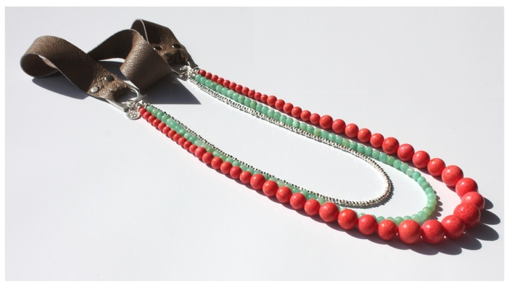 Pink/Orange Coral, Aqua Chrysoprase & Silver Nugget Bead Leather Necklace. To Be Launched May 1, 2012 on Etsy http://www.etsy.com/shop/SoPrettyJewelry: Beads Leather, Leather Necklaces, Cara Cotter, Nuggets Beads, Coral Aqua, Pink Orange Coral, Silver Nuggets, Pretty Jewelry, Aqua Chrysopras
