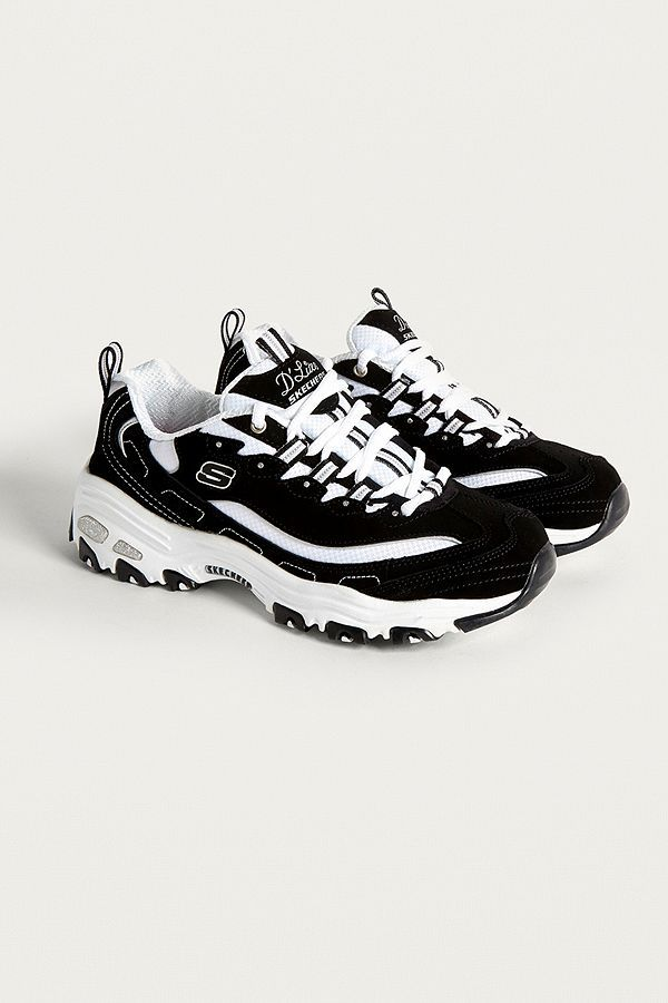 Skechers D'Lites Biggest Fan Black and White Trainers