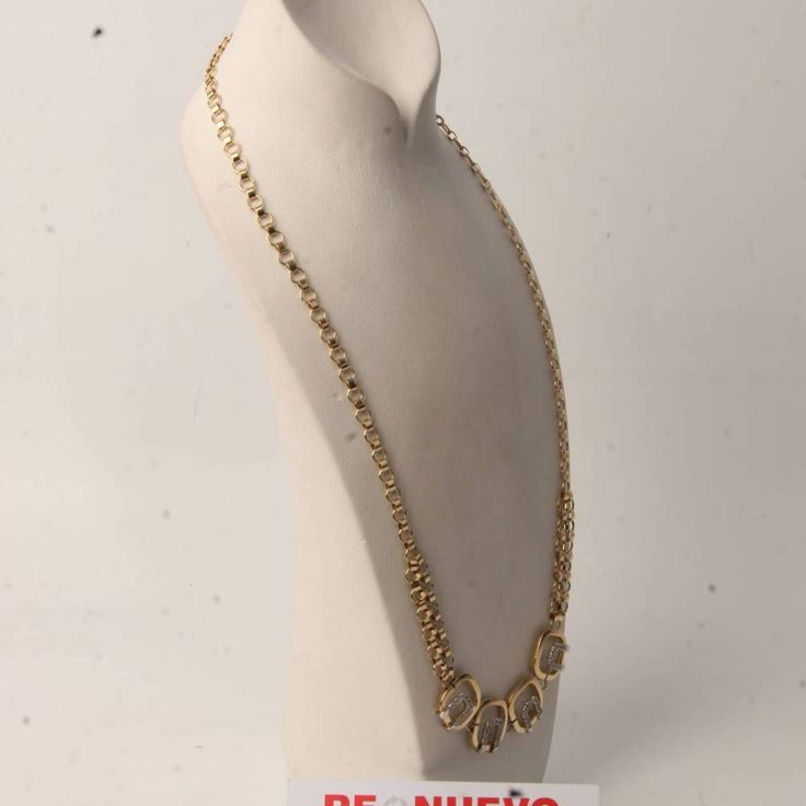 Collar de oro bicolor de segunda mano con circonitas E276093E | Tienda online de segunda mano en Barcelona Re-Nuevo