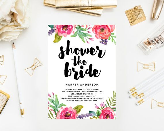 Bright Summer Bridal Shower Invitations by Fine and Dandy Paperie - Available as a Printed Invitation or a Printable Invitation!