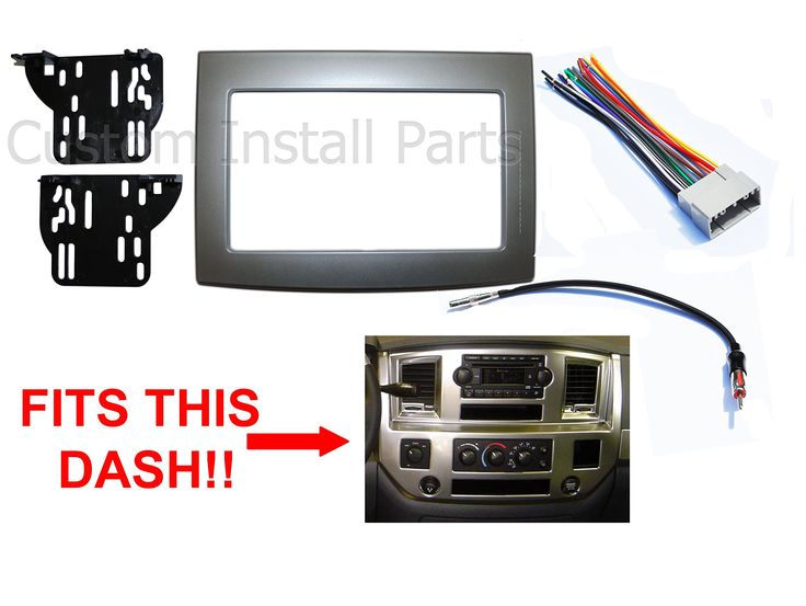 Silver Dodge Ram Radio Stereo Double Din Dash Install Kit w/ Wiring Harness