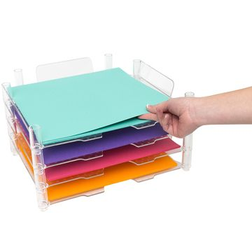 """We R Memory Keepers Stackable Paper Trays 12"""" x 12"""" 4 Pack - Clear"""