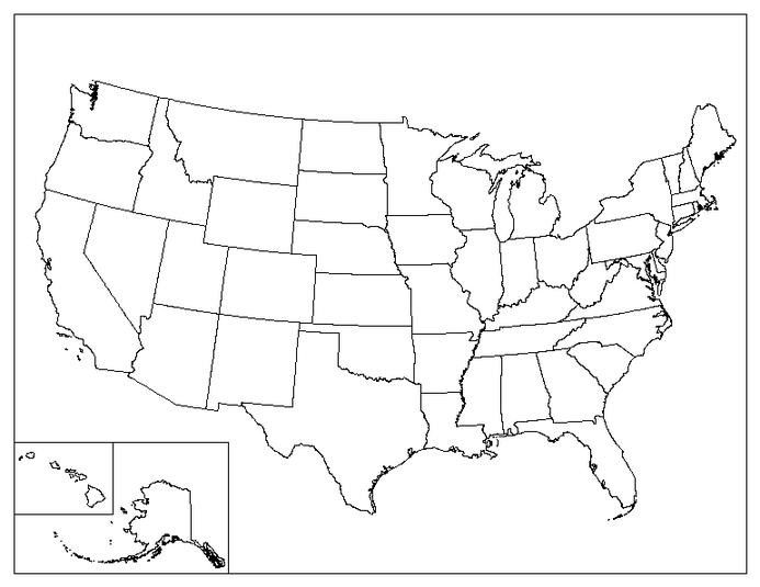 Blank Us Map Template united states map with abbreviations ...