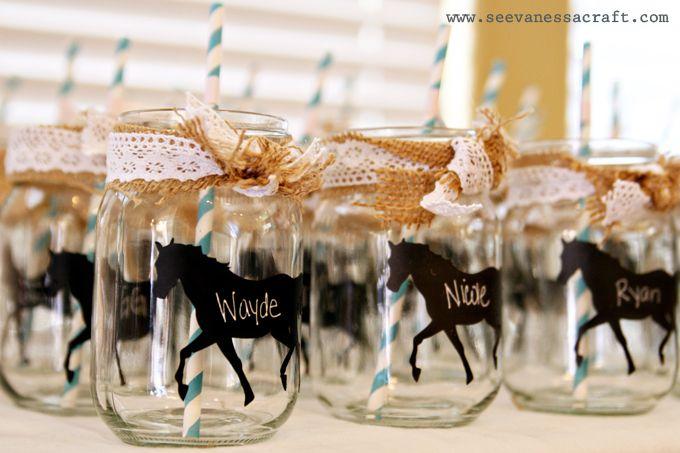 Pink + Aqua Cowgirl Party: black chalkboard vinyl horse silhouettes for Mason jar drinks