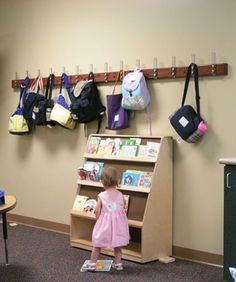 HangSafe Rack in church nursery. With names of regular kids so that each worker knows where each child's bag/bottle/diapers are...