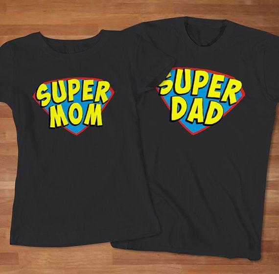 Superhero Birthday Party-  Super mom and Super dad Couple TShirt  Anniversary by Sarimbittees, $32.00