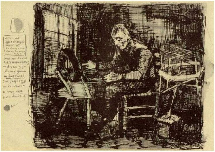 Old Man Reeling Yarn Vincent van Gogh   Letter Sketches,   Nuenen: June - early in month, 1884 Van Gogh Museum  Amsterdam, The Netherlands, Europe  F: ;371, ;JH: ;498