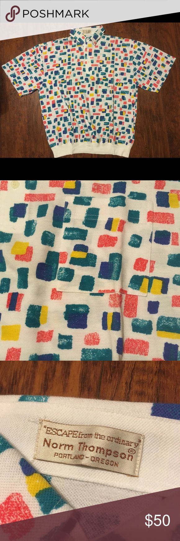 Vintage Norm Thompson Polo Abstract Retro Vintage like new condition Norm Thompson escape from the ordinary Portland Oregon polo short sleeve top. Primary color geometric abstract pattern is a little kooky and a little modern- but this piece is vintage! Size large. Vintage Shirts Polos