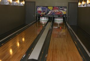 Contemporary Game Room with Wall sconce, Custom Bowling Alley, Hardwood floors, Bowling alley