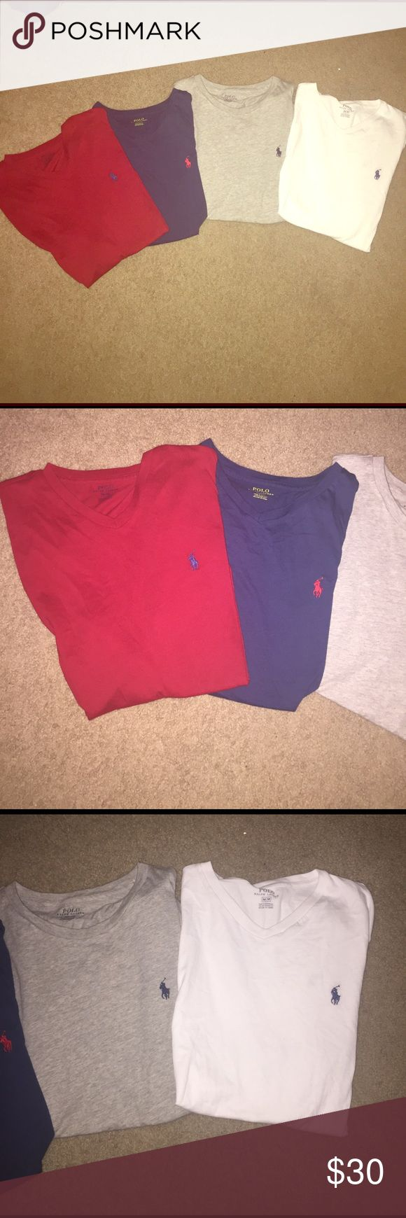 Ralph Lauren 3 v-neck 1-crew size:medium (set) All worn once or twice !!!  Sold as a set!! Polo by Ralph Lauren Shirts Tees - Short Sleeve