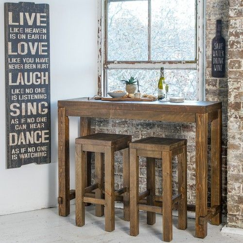 Stonemill Half Bar Package with Stonemill Wooden Stools (Table:  1400W x 450D x 1050H mm; stool:  380W x 350D x 750H mm) RRP $711