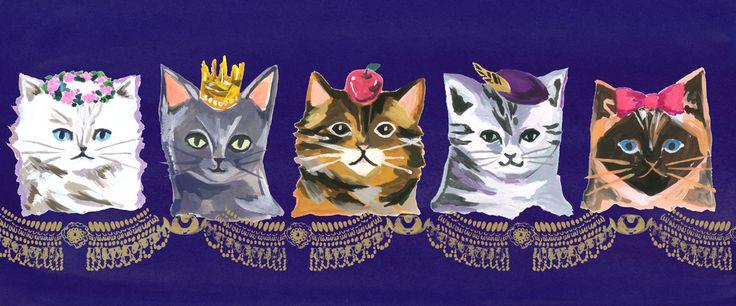 #cat  #広告 #花 #flower #デザイン #お洒落 #可愛い  #illustration #kanakobayashi #art #illust #パッケージ #pattern #柄 #模様  #猫