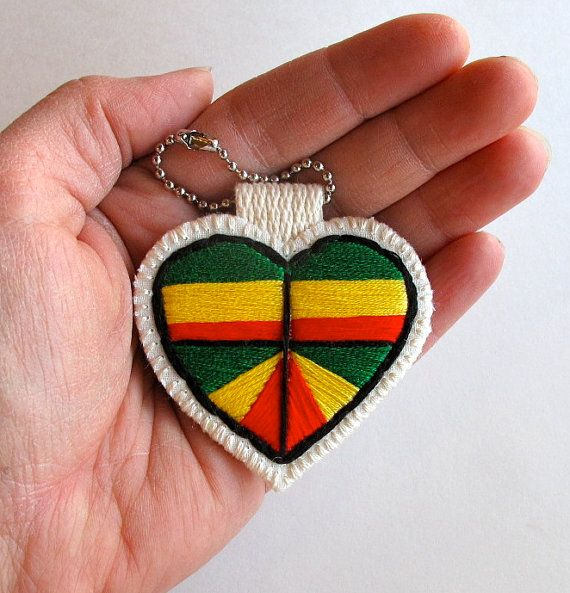 Heart ornament embroidered geometric with red green and yellow Ethiopian flag Rasta colors Christmas