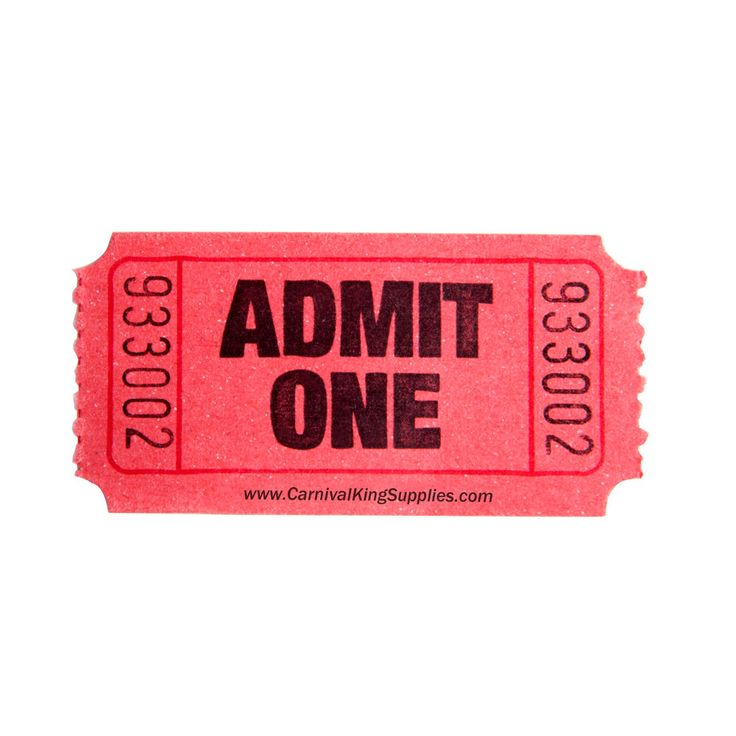 """Carnival King Red 1-Part """"Admit One"""" Tickets - 2000 / Roll"""
