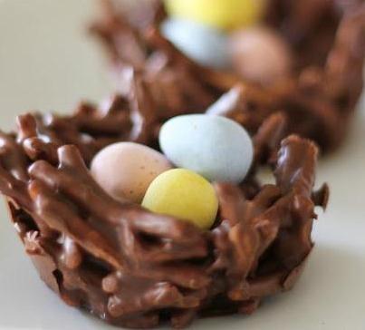 Easter Pretzel & Candy Nests (recommend cadbury mini eggs)