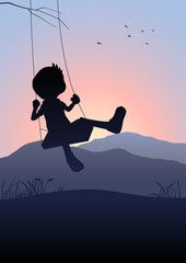 Silhouette illustration of a kid on a swing