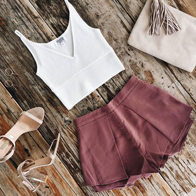 Ribbed material + mauve tones II Love this little combo. Shop the look: One Wish Top in White + Bounce Back Shorts in Mauve   SHOP NEW ARRIVALS --> www.muraboutique.com.au  #muraboutique #murastyle #flatlay