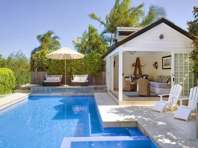 Swimming Pool Cabana Ideas swim up bar cabana Hamptons Pool House In The Heart Of Sydneyi Think This Looks So Relaxing