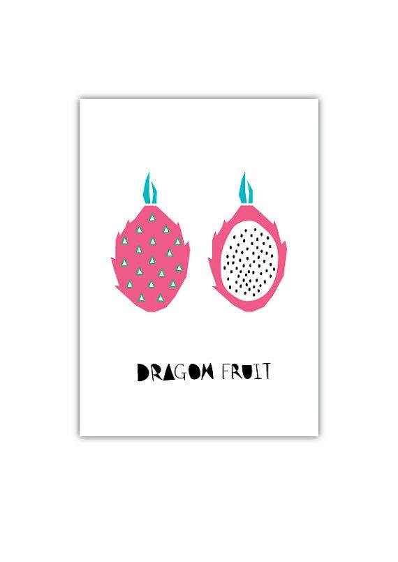 Dragon Fruit Art print, Geometry, Vegetable, Fruit, Drawings, Illustration, Decorative art, Kitchen Art, Botanical Art
