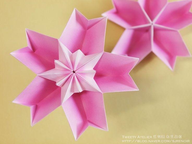 Origami forma de la flor se asemeja a una pequeña cereza .. ~ ~ Segundo: Naver Blog