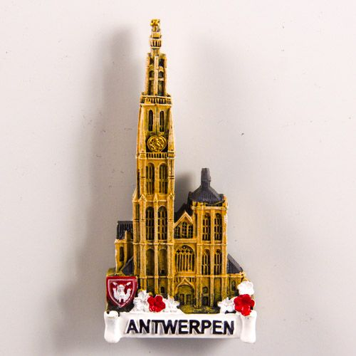 Resin Fridge Magnet: Belgium. Cathedral of Our Lady in Antwerp