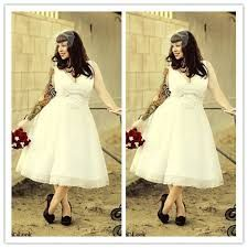 Image Result For Tea Length Wedding Dress Plus Size Rockabilly