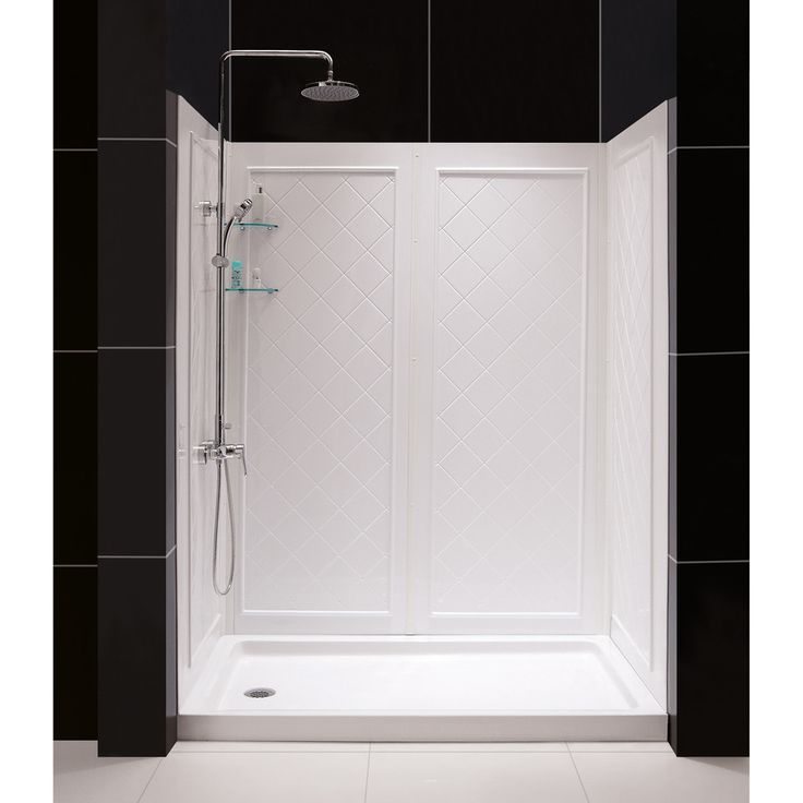 Shop DreamLine Shower Base and Back Walls White Acrylic Wall and Floor 5-Piece Alcove Shower Kit (Common: 60-in x 30-in; Actual: 76.75-in x 60-in x 30-in) at Lowes.com