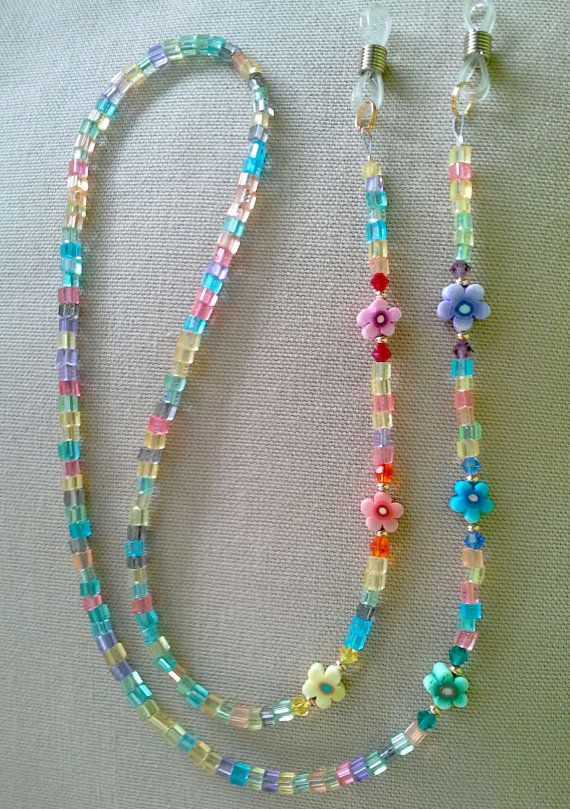 Rainbow Crstals and Flowers Eyeglass Chain Handmade by spec2d (Accessories, Eyewear, rainbow, eyeglass, chain, eyeglass chain, eyeglass holder, flowers, gay pride, sunglasses leash, sunglasses)