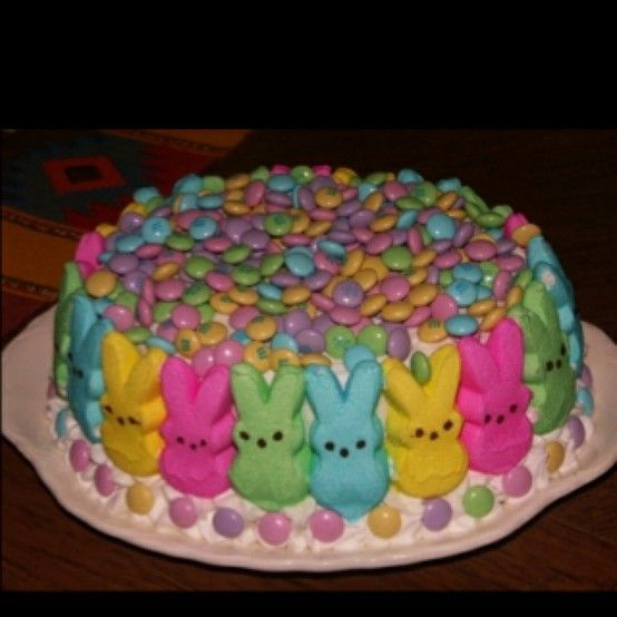 Cute and super easy. I would do all the peeps one color, with a multi-colored cake inside