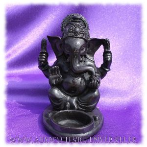 Bougeoir / Porte-encens Ganesh en résine multi-usage. Disponible en boutique