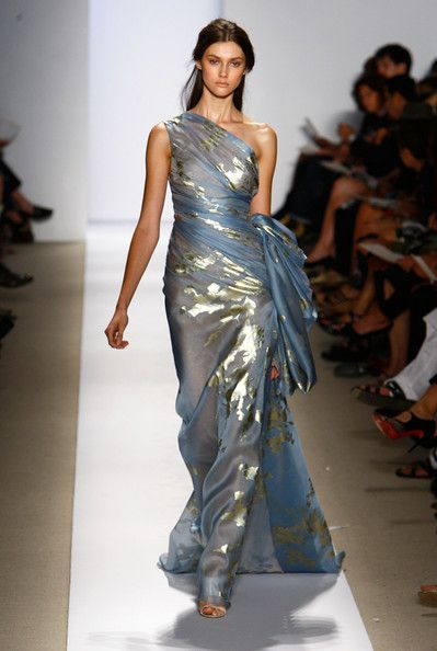 Interesting effect: shiny gold fabric with a blue chiffon (?) overlay.  Not sure about the style for what I want, but the fabric concept is clever.