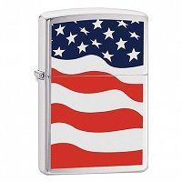 Zapalniczka Zippo American Flag, Brushed Chrome