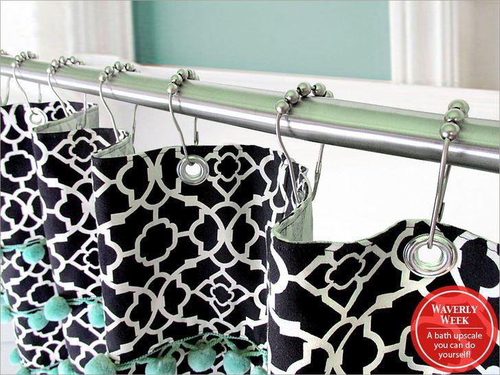 Shower curtain with pom pom valance diy sew4home for Space fabric dunelm