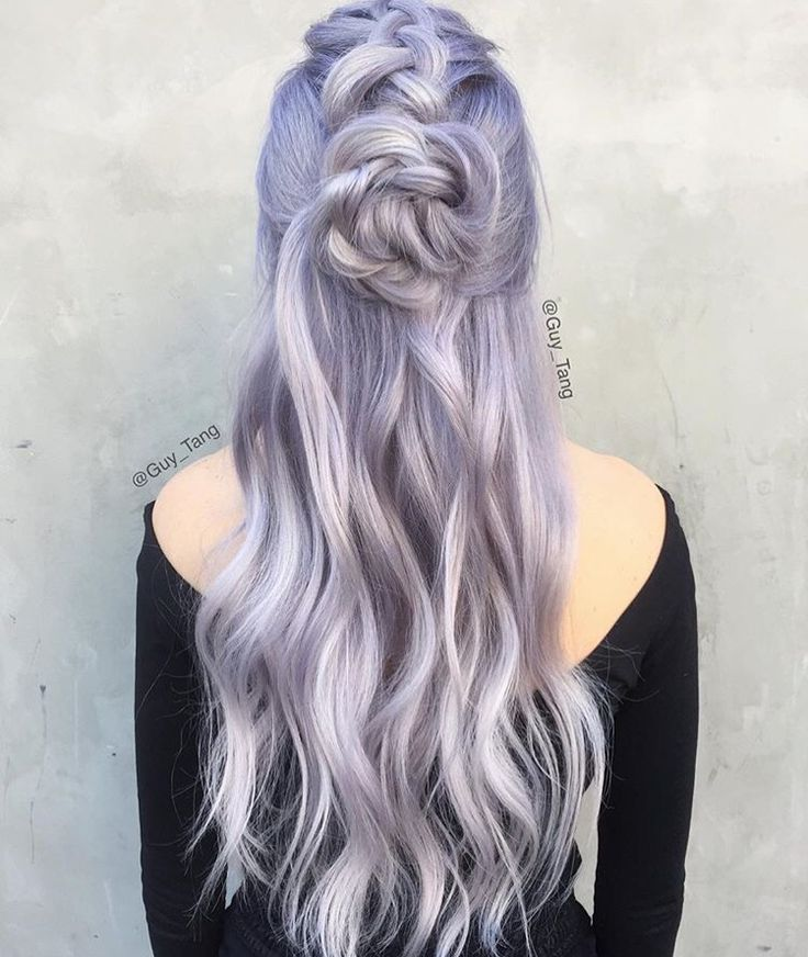 Gorgeous lilac silver hair by Guy Tang!