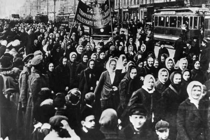 Women marching on International Women's Day in Petrograd (St Petersburg), Russia, 1917.