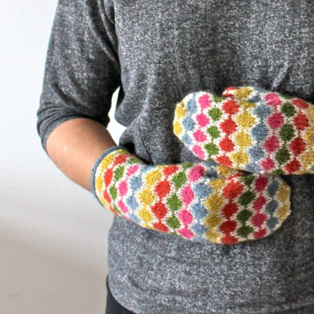pearl chain mittens, free pattern. This would be a great pattern for me to learn using multiple yarns.