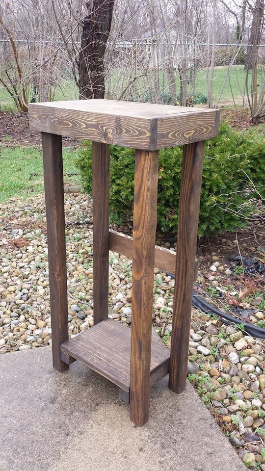 Primitive Rustic Small Dark Walnut Stained TALL Skinny Sofa Hall Entry End Table PLANT STAND 10x16x32h Custom Sizes & Colors Available by UniquePrimtiques on Etsy https://www.etsy.com/listing/185111973/primitive-rustic-small-dark-walnut